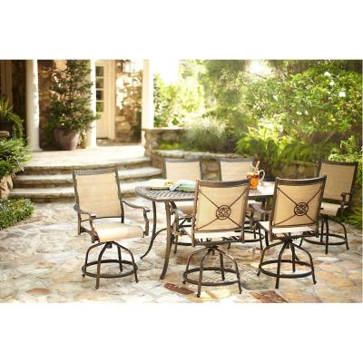 Martha Stewart Living Solana Bay 7 Piece Patio High Dining Set Abc Set 1148 7 The Home Depot
