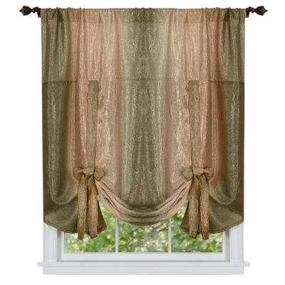 Ombre Earth Polyester Tie Up Shade Curtain - 50 in. W x 63 in. L Product Photo