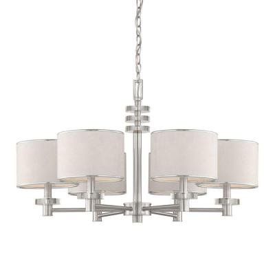 Eurofase Savvy Collection 6-Light Satin Nickel and White Chandelier