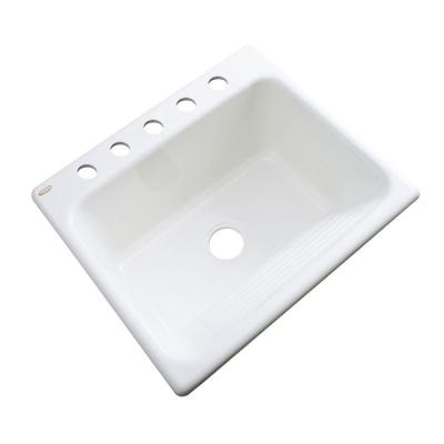 Thermocast Kensington Drop-In Acrylic 25 in. 5-Hole Single Bowl Utility Sink in White