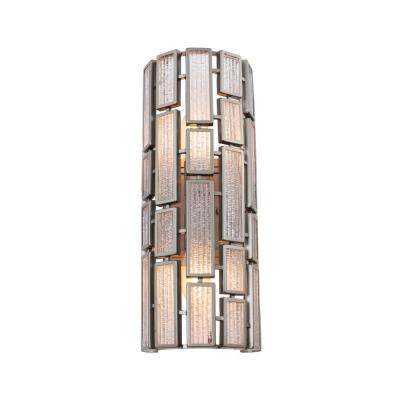 Harlowe 2-Light New Bronze Sconce with Textured Ice Glass