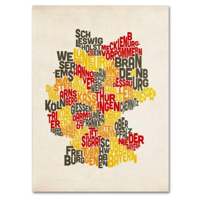 30 in. x 47 in. Germany Region Text Map Canvas Art