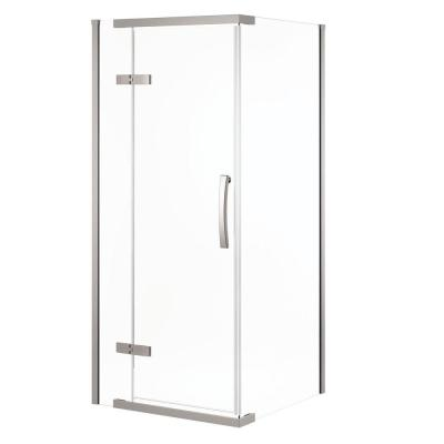36 in. x 36 in. x 76 in. 3-Piece Corner Frameless Shower Enclosure in Stainless Product Photo