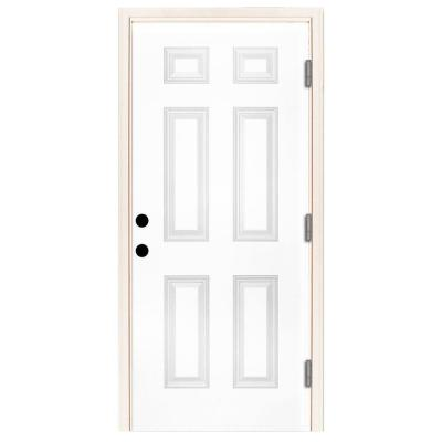 32 in. x 80 in. Premium 6-Panel Primed White Steel Prehung Front Door with 32 in. Left-Hand Outswing and 6 in. Wall Product Photo