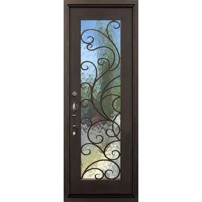 40 in. x 82 in. Islamorada Dark Bronze Left-Hand Inswing Painted Iron Prehung Front Door with Privacy Glass and Hardware Product Photo