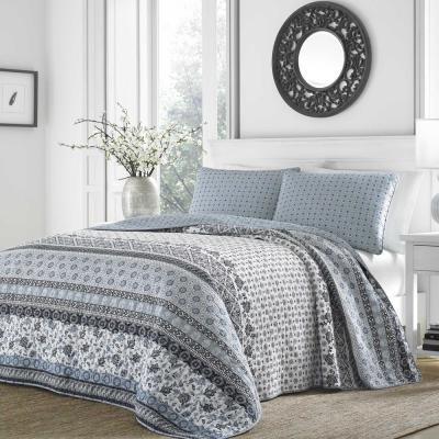 Bexley Blue Floral Cotton Quilt Set