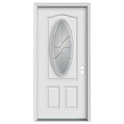 36 in. x 80 in. Intersect 3/4 Oval Lite Primed Premium Steel Prehung Front Door with Brickmould Product Photo