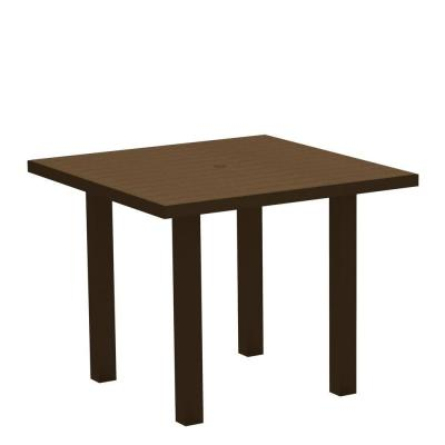 Euro Textured Bronze 36 in. Square Patio Dining Table with Teak