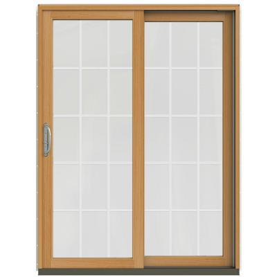 59-1/4 in. x 79-1/2 in. W-2500 French Vanilla Prehung Right-Hand Clad-Wood Sliding Patio Door with 15-Lite Grids Product Photo