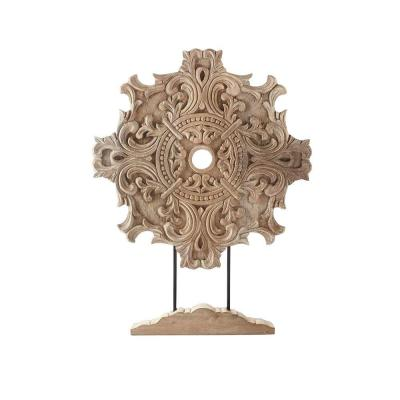 Home Decorators Collection Raka 28 in. H x 22 in. W Natural Wood Carved Wood Panel with Stand