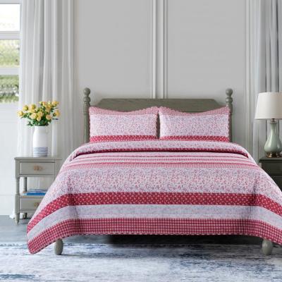 Stripe Rose Microfiber Quilt Set