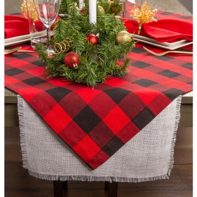 Christmas Red Checkered Cotton Tablecloth