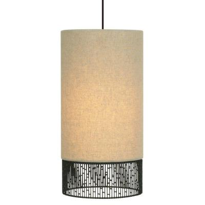 Hollywood Beach Long 1-Light Bronze Pendant with Tan Shade