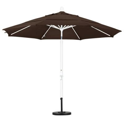 California Umbrella 11 ft. Aluminum Collar Tilt Double Vented Patio Umbrella in Mocha Pacifica