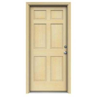 32 in. x 80 in. Authentic Wood 6-Panel Unfinished Hemlock Prehung Front Door w/ Unfinished AuraLast Jamb & Brickmould Product Photo