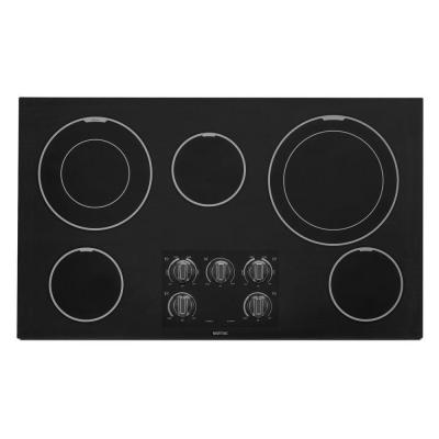36 in. Ceramic Glass Electric Cooktop in Black with 5 Elements