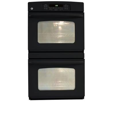 30 in. Double Electric Wall Oven Self-Cleaning in Black on Black