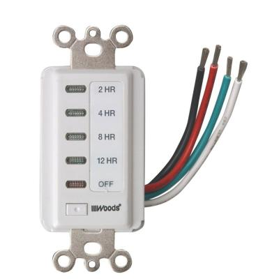 Decora Style 12-8-4-2 Hour Preset Wall Switch Timer, White Product Photo
