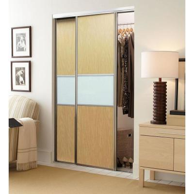 Matrix™ Anodized Aluminum Frame Maple Wood Grain and Snow White Back Painted Glass Interior Ultraglide® Sliding Door