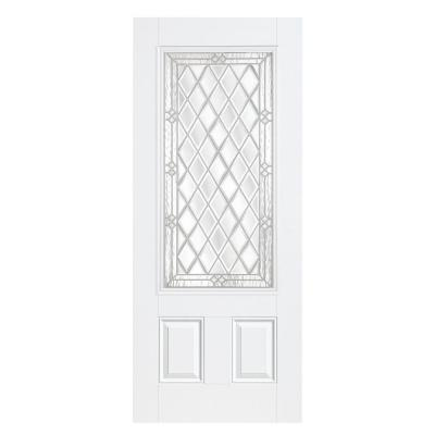 36 in. x 80 in. Halifax Three Quarter Rectangle Primed Smooth Fiberglass Prehung Front Door with No Brickmold Product Photo