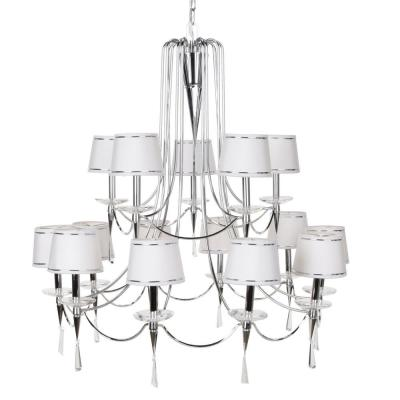Hampton Bay Halina 15-Light Chrome and White Chandelier-DISCONTINUED
