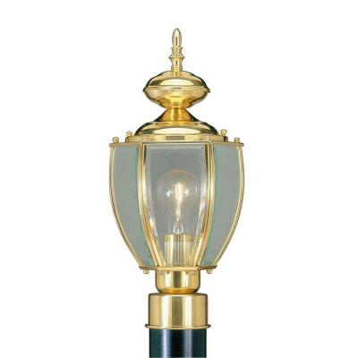 Livex Lighting Providence 1-Light Outdoor Polished Brass Incandescent Post Lantern