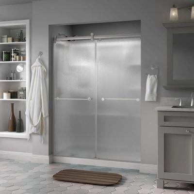 Delta Lyndall 60 in. x 71 in. Semi-Frameless Contemporary Sliding Shower Door in Nickel with Rain Glass