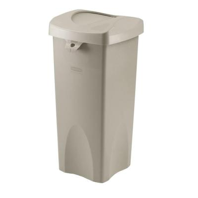 Untouchable 23 Gal. Beige Square Swing-Top Trash Can