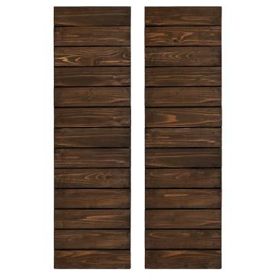 Cedar Board and Batten Horizontal Slat Shutters Pair