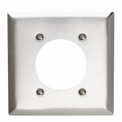 Pass & Seymour 2-Gang 1 Power Outlet Wall Plate - Stainless Steel