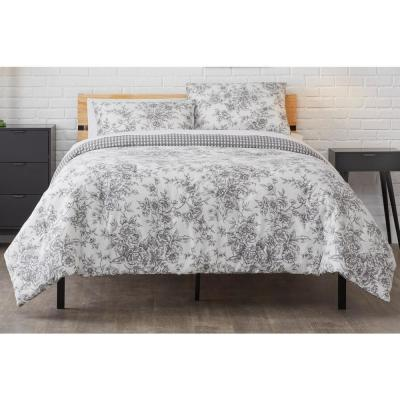 White and Silver Detroit Bedding with Pleated Panel