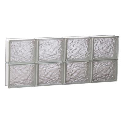 Clearly Secure 31 in. x 13.5 in. x 3.125 in. Non-Vented Ice Pattern Glass Block Window