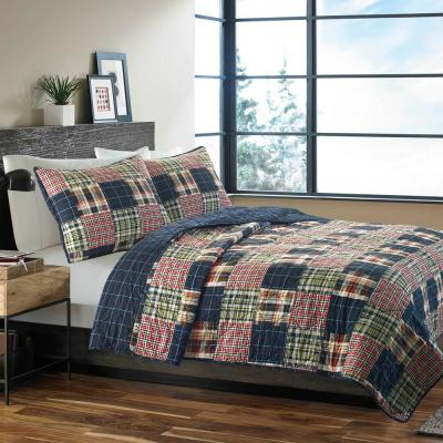 Madrona Blue Plaid Cotton Quilt Set