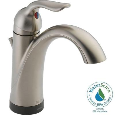 Delta Lahara Single Hole Single-Handle Bathroom Faucet in Stainless with Touch2O.xt Technology