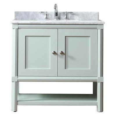 Martha Stewart Living Sutton 36 in. W x 22 in D Vanity in Rainwater with Marble Vanity Top in White/Grey with White Basin