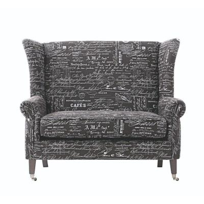 Haven Fabric Settee in Black and White Product Photo
