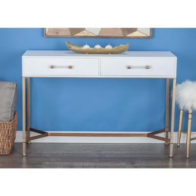 AMERICAN HOME Modern White Metal Wood Console Table