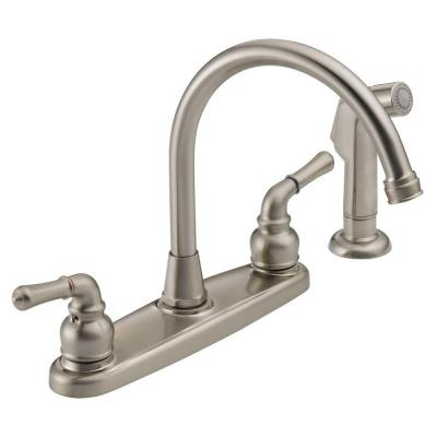 High-Arc 2-Handle Standard Kitchen Faucet with Side Sprayer in Stainless Steel Product Photo