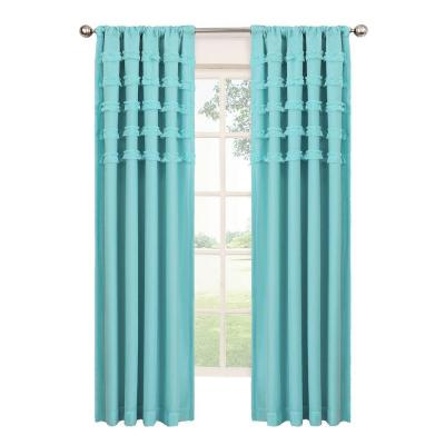 Ruffle Batiste Blackout Pool Polyester Rod Pocket Curtain, 84 in. Length