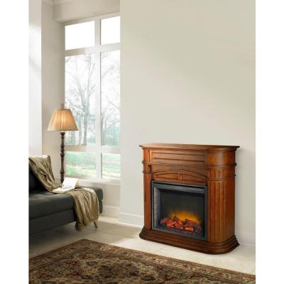 Pleasant Hearth Turin 46 in. Electric Fireplace in Chestnut