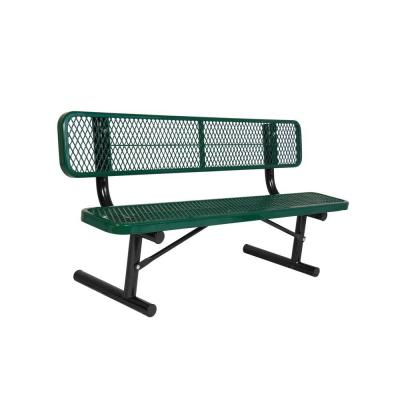 Portable 8 ft. Green Diamond Commercial Park Bench with Back