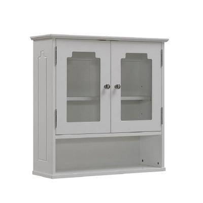 Runfine 24 in. W x 24 in. H x 8 in. D Bathroom Storage Wall Cabinet with Glass Door in White