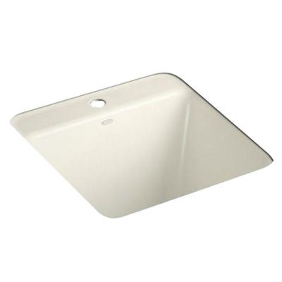 KOHLER Park Falls Under-Mount Cast Iron 21x22x13.625 1-Hole Utility Sink in Biscuit