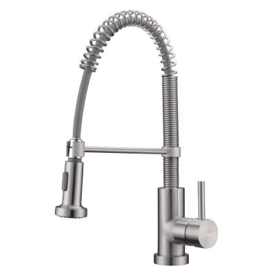 Commercial Kitchen Faucets With Sprayer : ... Commercial Single-Handle Pull-Down Sprayer Kitchen Faucet in Brushed