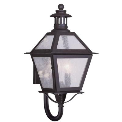Filament Design 2-Light 19 in. Bronze Finish Seeded Glass Outdoor Wall Lantern