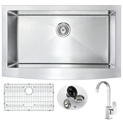ANZZI ELYSIAN Farmhouse Stainless Steel 36 in. 0-Hole Kitchen Sink and Faucet Set with Opus Faucet in Brushed Nickel