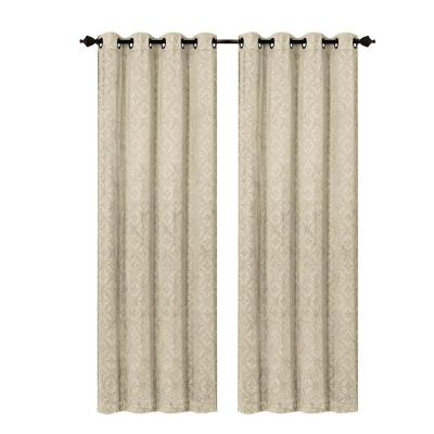 Matine Trellis Extra Wide Taupe Embossed Velvet Grommet Curtain Panel - 54 in. W x 84 in. L Product Photo