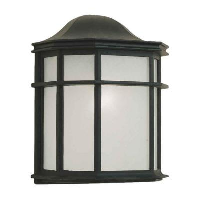 Talista 1-Light Outdoor Black Lantern with White Acrylic Panel