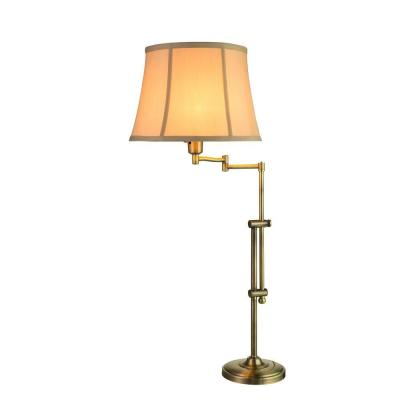 29-34 in. Antique Brass Adjustable Metal Swing Arm Table Lamp