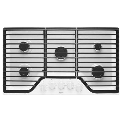 36 in. Gas Cooktop in White with 5 Burners including 15000-BTU